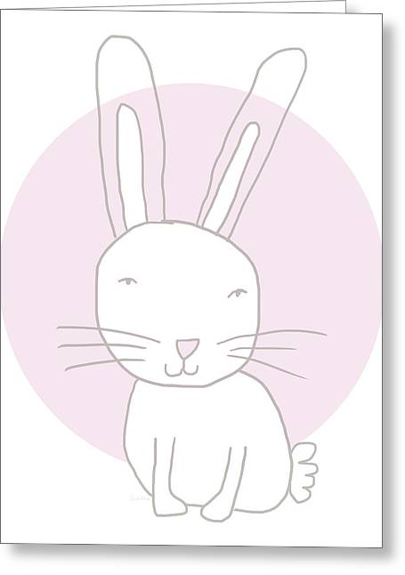 White Bunny On Pink- Art By Linda Woods Greeting Card by Linda Woods
