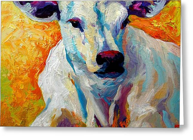 Cow Greeting Cards - White Calf Greeting Card by Marion Rose