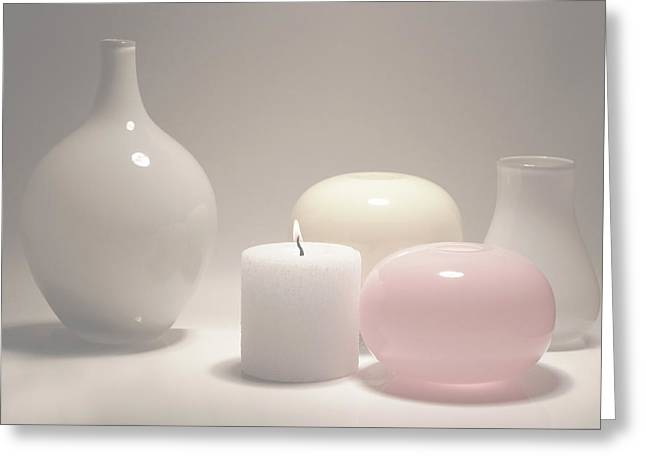 White Candle Greeting Card by larisa Fedotova