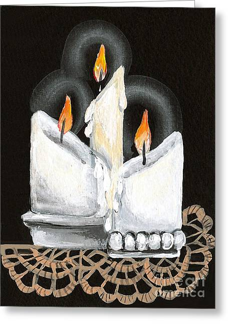 Crocheted Doily Greeting Cards - White Candle Trio Greeting Card by Elaine Hodges