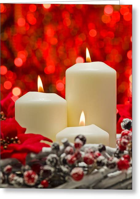 Candle Lit Greeting Cards - White candles  Greeting Card by Ulrich Schade