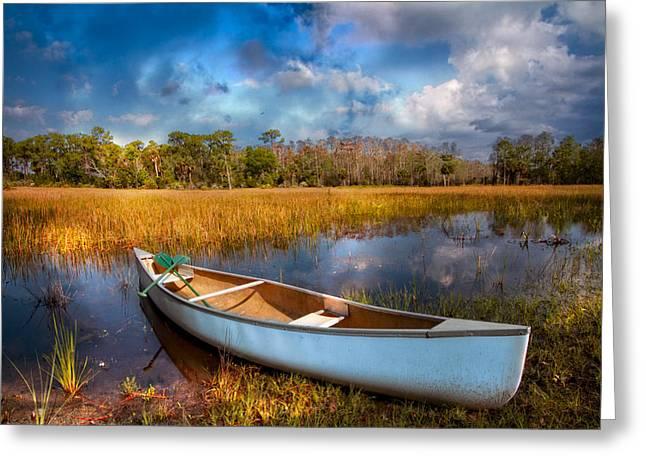 White Canoe Greeting Card by Debra and Dave Vanderlaan