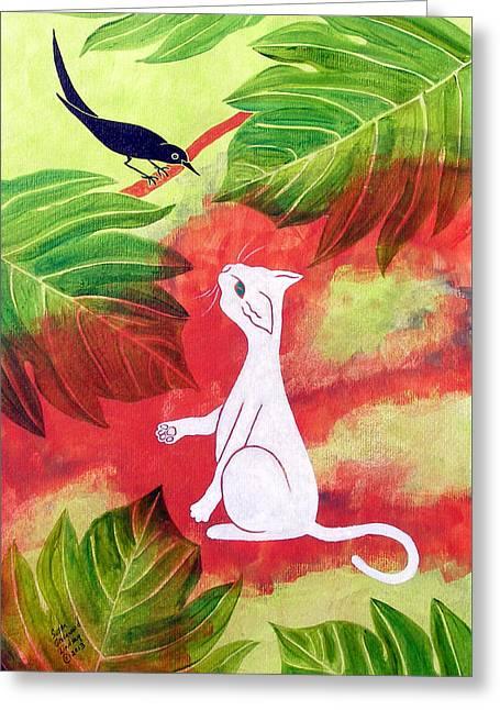 White Cat Black Bird Greeting Card by Susan Greenwood Lindsay