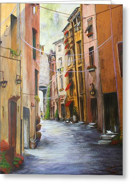 Sienna Italy Greeting Cards - White Cat Lane Greeting Card by Jan Lowe