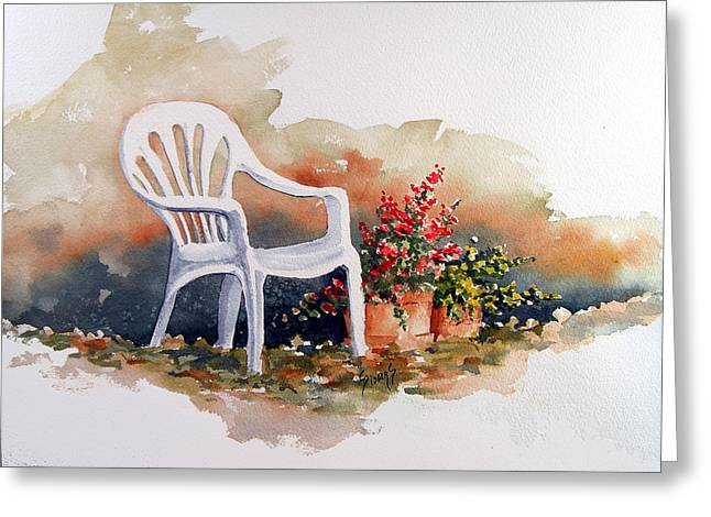 Chairs Greeting Cards - White Chair with Flower Pots Greeting Card by Sam Sidders