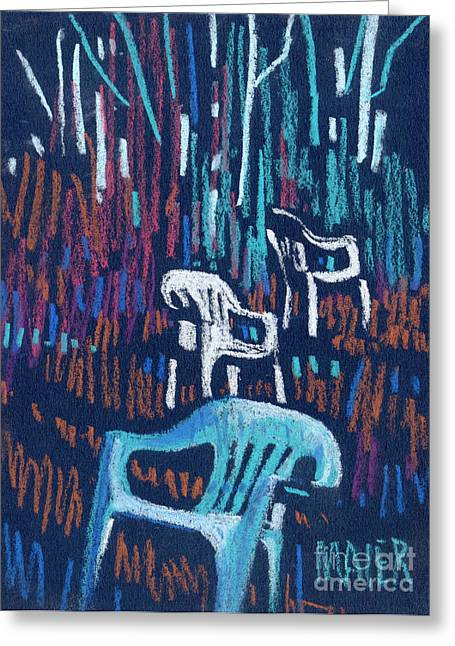 Lawn Chair Pastels Greeting Cards - White Chairs Greeting Card by Donald Maier