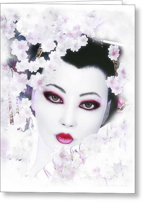 Mute Greeting Cards - White Cherry Blossom Geisha Greeting Card by Shanina Conway