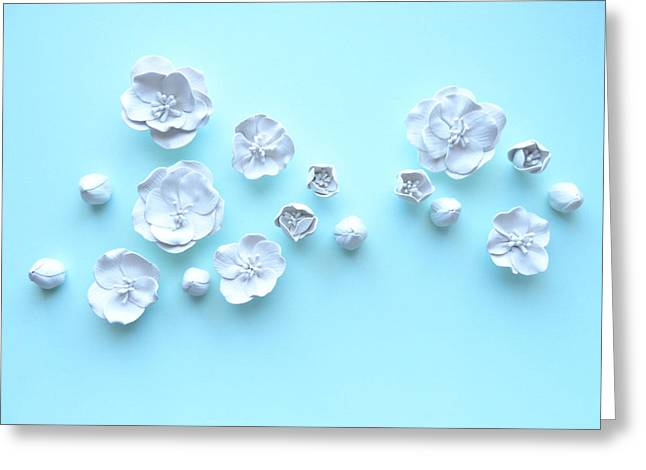 Sculpture. Ceramics Greeting Cards - White Cherry Blossom Wall Flower Set Greeting Card by Lenka Kasprisin