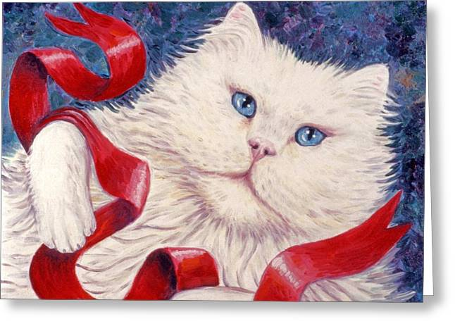 Kittens Greeting Cards - White Christmas Cat Greeting Card by Linda Mears