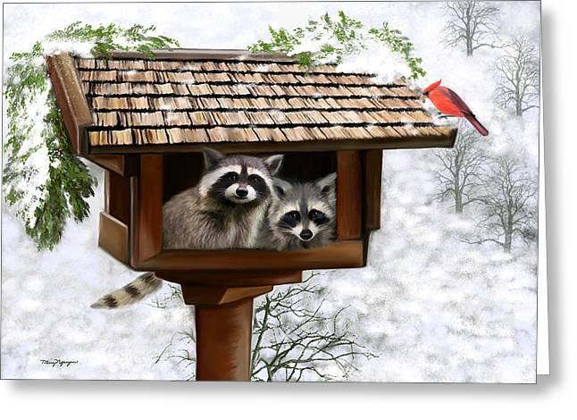 Raccoon Digital Art Greeting Cards - White Christmas Greeting Card by Thanh Thuy Nguyen