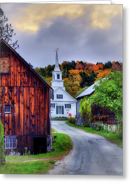 White Church And Barn In Autumn - Vermont Greeting Card by Joann Vitali