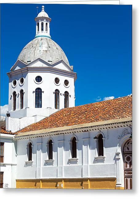 Cuenca Greeting Cards - White Church in Cuenca Ecuador Greeting Card by Jess Kraft