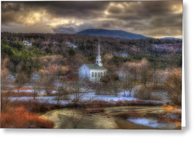 New England Snow Scene Greeting Cards - White Church in Vermont Greeting Card by Joann Vitali