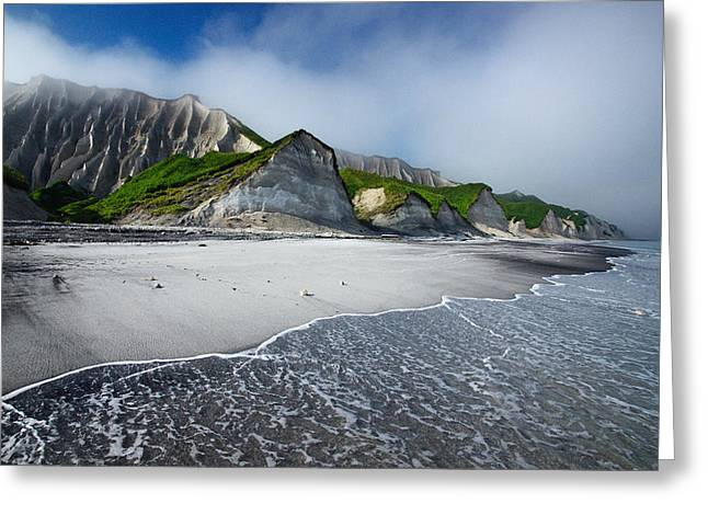 Volcanic Greeting Cards - White Cliffs Of Iturup Island Greeting Card by Alexey Kharitonov
