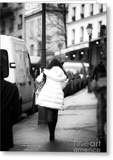 Artist Photographs Greeting Cards - White Coat in Paris Greeting Card by John Rizzuto