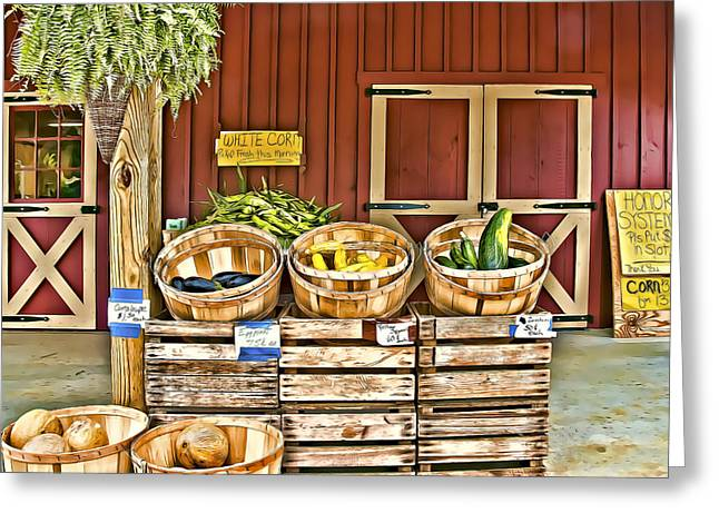Farm Stand Greeting Cards - White Corn Greeting Card by Maria Coulson