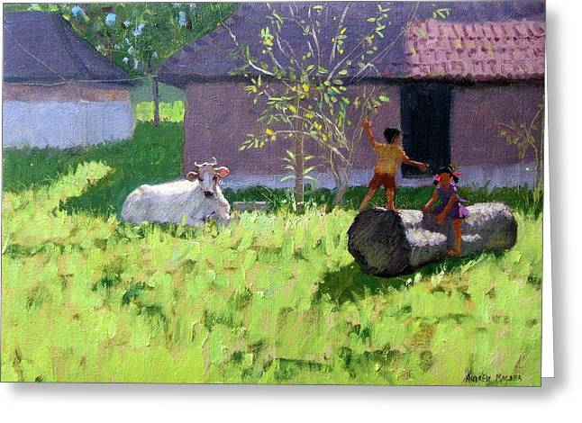 White Cow And Two Children Greeting Card by Andrew Macara