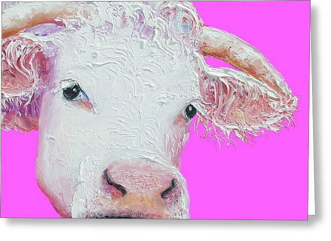 White Cow On Pink Background Greeting Card by Jan Matson