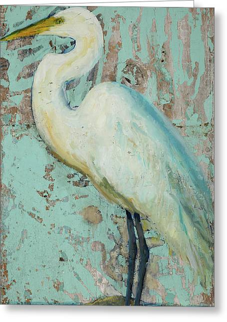 Antiques Sign Greeting Cards - White Crane Greeting Card by Billie Colson