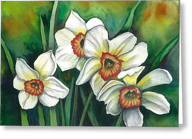 Easter Flowers Drawings Greeting Cards - White Daffodils Greeting Card by Linda Nielsen