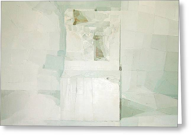 Abstract Art On Canvas Greeting Cards - White Greeting Card by Daniel Cacouault