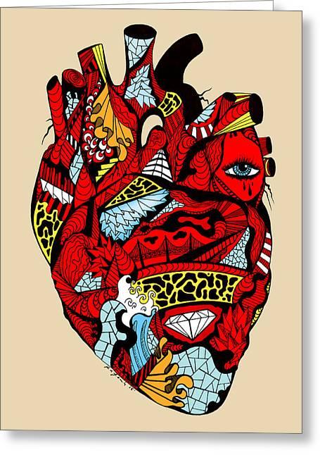 Kenal Louis Greeting Cards - White Diamond Heart Greeting Card by Kenal Louis