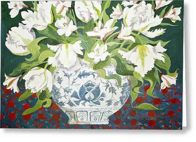 Delft Greeting Cards - White double tulips and alstroemerias Greeting Card by Jennifer Abbot