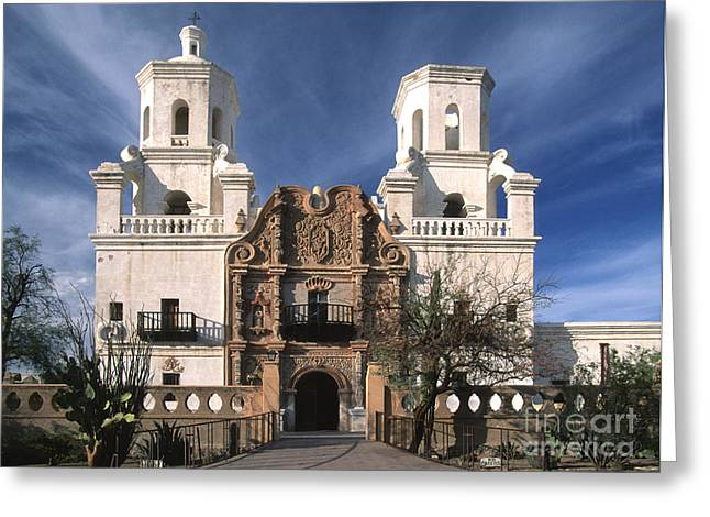Colonial Architecture Greeting Cards - White Dove of the Desert Greeting Card by Sandra Bronstein
