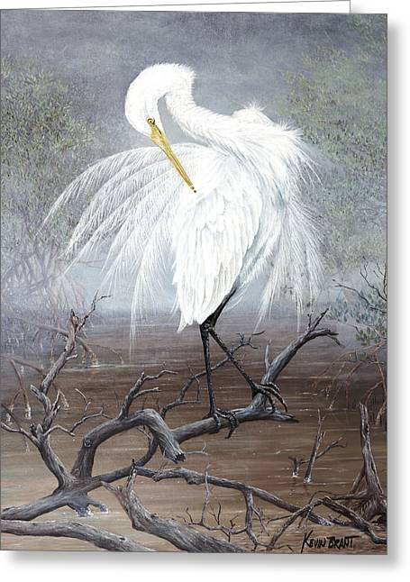 Kevin Brant Greeting Cards - White Egret Greeting Card by Kevin Brant