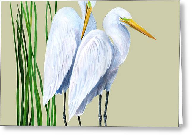 White Egrets and White Lillies Greeting Card by KEVIN BRANT