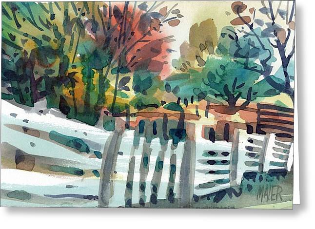 Fence Greeting Cards - White Fence Greeting Card by Donald Maier