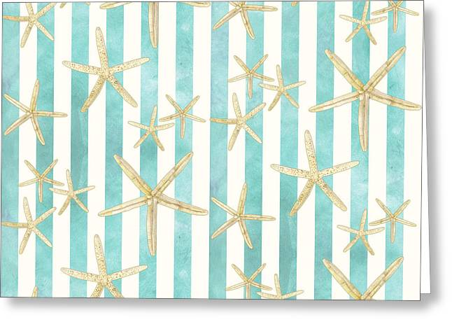 Sand Patterns Greeting Cards - White Finger Starfish Watercolor Stripe Pattern Greeting Card by Audrey Jeanne Roberts