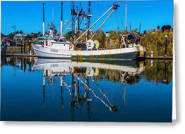 White Fishing Boat Reflection Greeting Card by Garry Gay