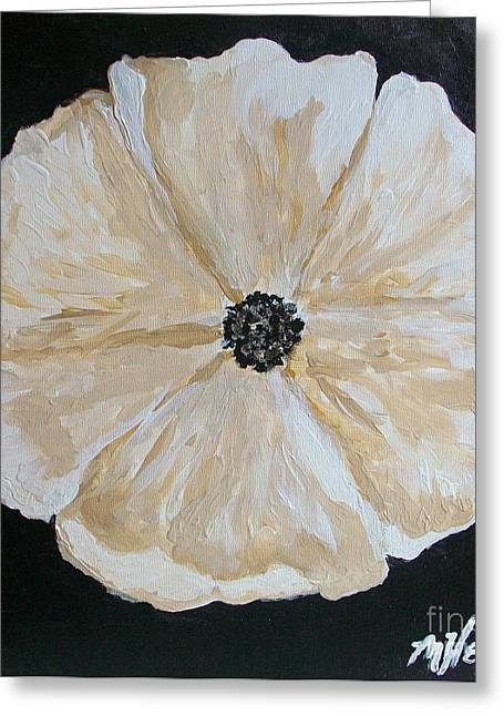 White Flower On Black Greeting Card by Marsha Heiken