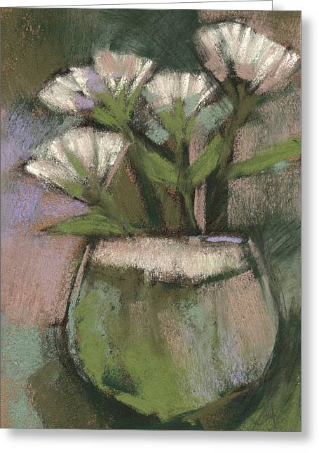 Loose Pastels Greeting Cards - White Flowers Greeting Card by Janine Aykens
