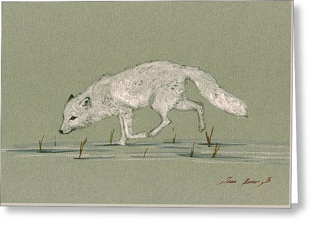 White Fox Walking Greeting Card by Juan  Bosco