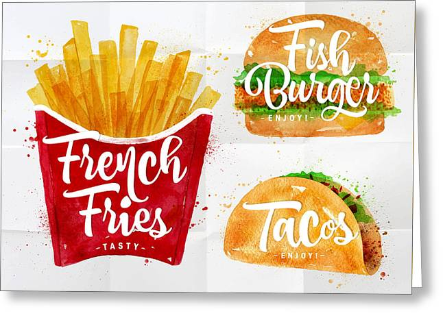 White French Fries Greeting Card by Aloke Design