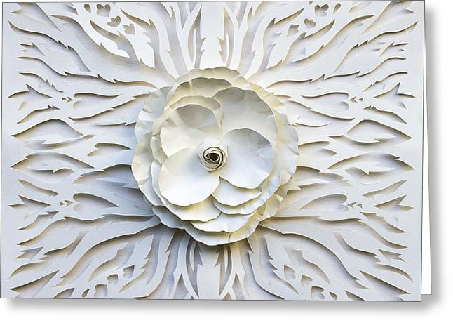 Intricate Cuts Greeting Cards - White garden Greeting Card by Karla Sosa