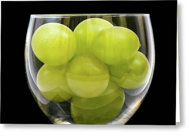 White Grapes Greeting Cards - White Grapes in Glass Greeting Card by Wim Lanclus