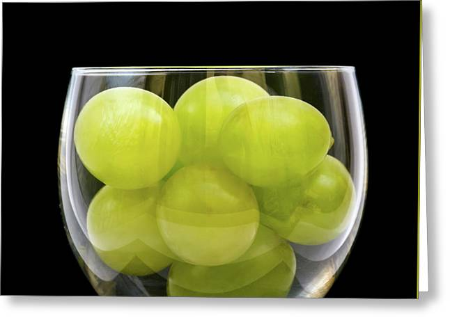 Wine Grape Print Greeting Cards - White Grapes in Glass Greeting Card by Wim Lanclus
