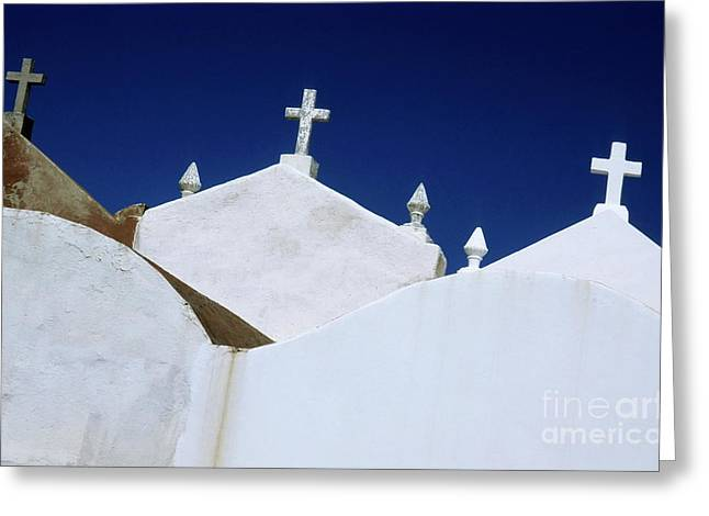 Headstones Greeting Cards - White gravestones in the Marine Cemetery in Bonifacio Greeting Card by Sami Sarkis