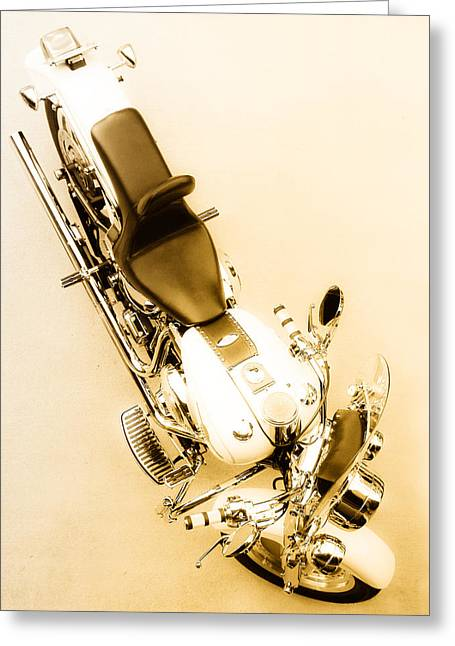 Still Life Photographs Greeting Cards - White Harley Davidson Greeting Card by Julie Niemela