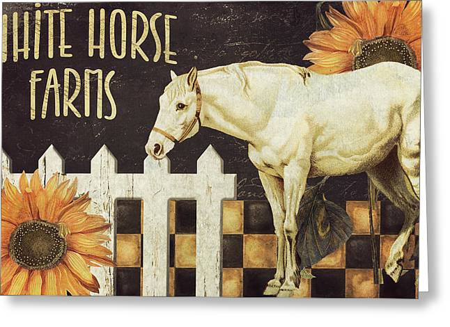 Horse And Buggy Paintings Greeting Cards - White Horse Farms Vermont Greeting Card by Mindy Sommers