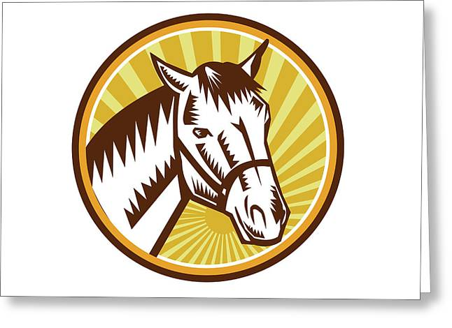 White Horse Head Sunburst Circle Woodcut Greeting Card by Aloysius Patrimonio
