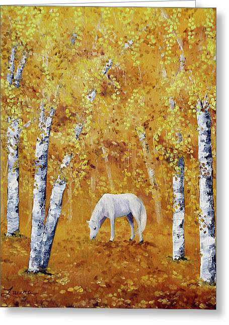 Birch Tree Greeting Cards - White Horse in Golden Woods Greeting Card by Laura Iverson