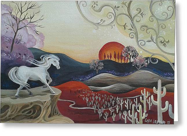 The Horse Greeting Cards - White Horse of the Desert Greeting Card by Lara Larson