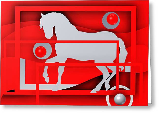 Modern Greeting Cards - White horse red Greeting Card by Alberto  RuiZ