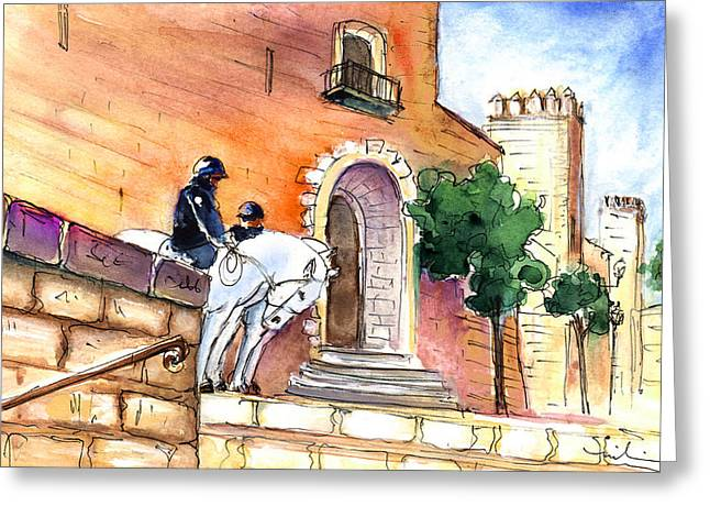 Police Art Drawings Greeting Cards - White Horses By The Cathedral In Palma De Mallorca 02 Greeting Card by Miki De Goodaboom