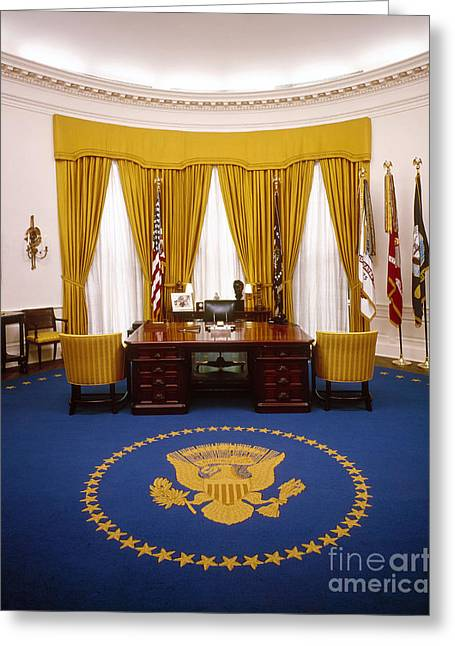 Nixon Greeting Cards - White House: Oval Office Greeting Card by Granger