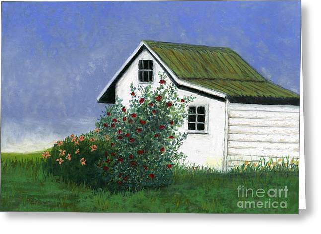 Country Cottage Pastels Greeting Cards - White House Red Roses Greeting Card by Ginny Neece